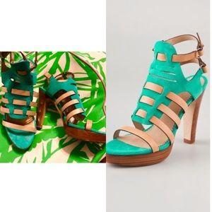 Rag and Bone suede tan leather heels 38.5 8.5